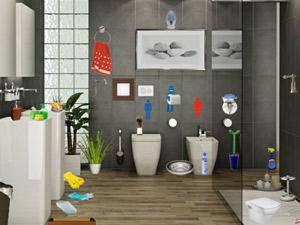 现代卫生间找东西