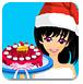圣诞美女做蛋糕
